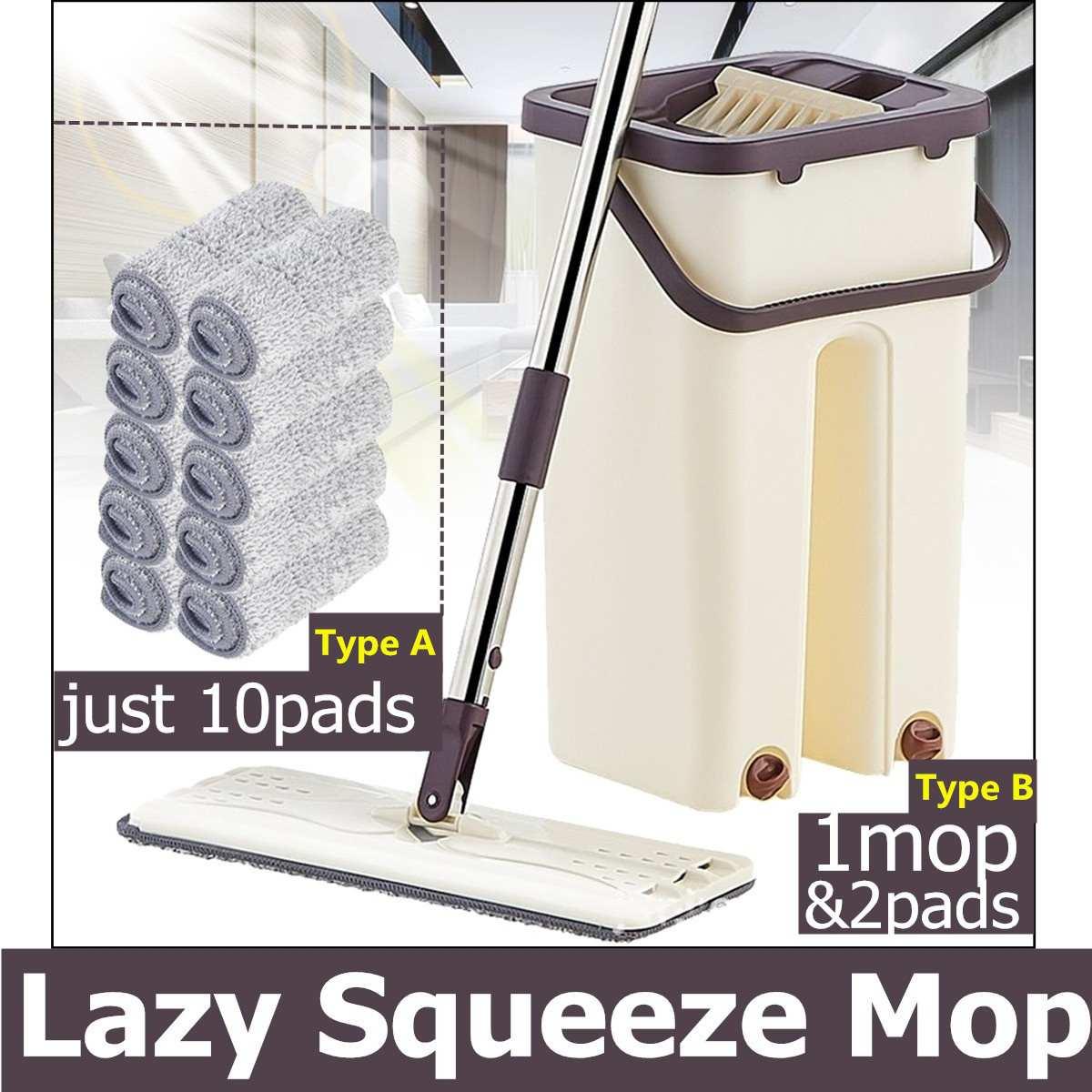 Fregona de microfibra perezosa para limpiar, fregona de mano gratis con cubo exprimidor plano, limpiador automático para el suelo de la cocina, envío directo