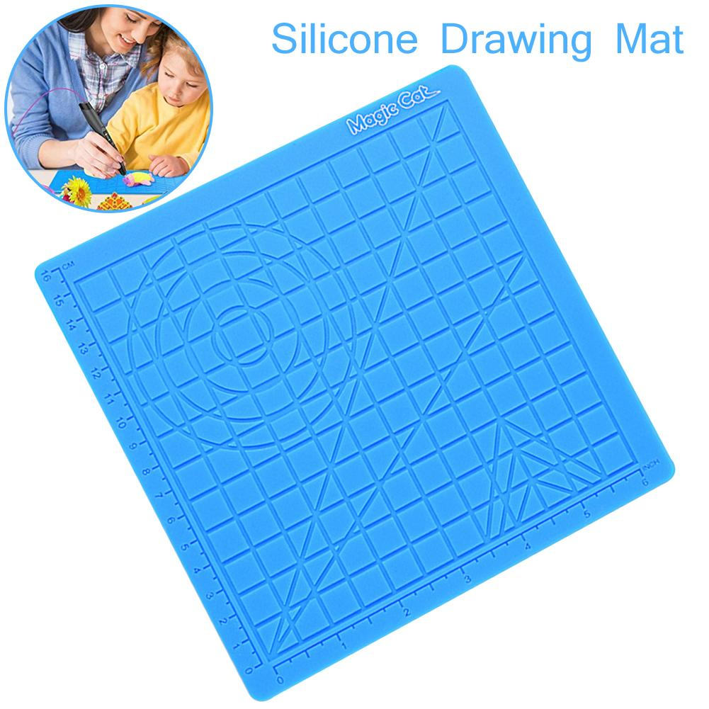 3D Printing Pen Silicone Design Mat Template Drawing Tools With Finger Caps 170x170x4Mm Silicone Pad Geometric Figure Drawing