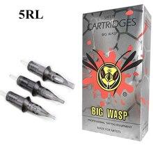 BIGWASP gelişmiş gri tek kullanımlık steril güvenlik 5RL dövme İğne kartuşları 20 adet/kutu (5 yuvarlak Liner)