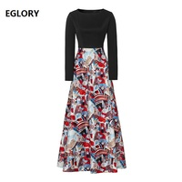 XXL Long Dress 2020 Autumn Winter Vintage Party Women Oil Painting Print Patchwork Long Sleeve Casual Elegant Maxi Dress Chic