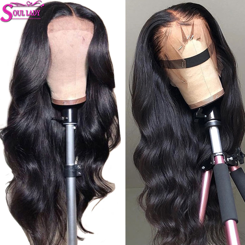 SoulLady 13x4Transparent Lace Wigs 13x6 Body Wave Glueless Lace Front Human Hair Wigs Pre Plucked Malaysian 360 Lace Frontal Wig