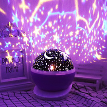 цена на Novelty LED Star Projector Lamp Home Decor Romantic Battery USB Baby Night Sleep Light Table Lamp Sky Moon Lamp 360 Degree light