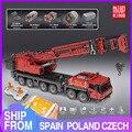 Строительные блоки MOULD KING, высокотехнологичный моторизованный кран красного цвета с приложением на радиоуправлении, модель грузовика, Детс...