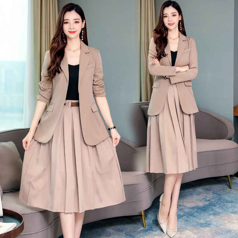 Women's Suit Set Skirt Set 2019 High Quality Long Section No Button Suit Jacket Female Casual High Waist Skirt Two-piece Suit