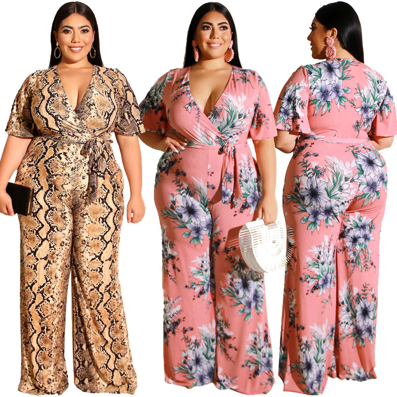 YASUGUOJI Fashion Snake Skin Plus Size Jumpsuits Women New Summer Serpentine Printed Jumpsuits Sexy V-neck Jumpsuits With Sashes