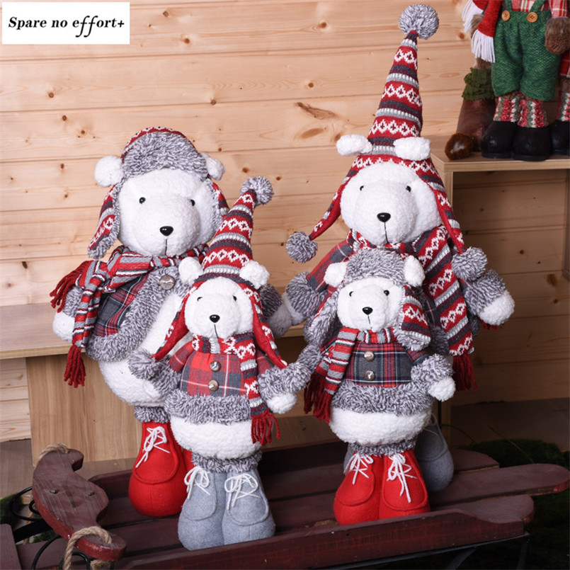 Decoração de natal Enfeites de Bonecos de Urso de Pelúcia Ano Novo Xmas Navidad Presente de Aniversário para Crianças Figuras Em Pé Apresenta Festival