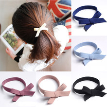 1Pcs High Elastic Bow Knotted Hair Scrunchie Rubber Band Women Girls Solid Color Hair Ties Hair Rope Ring Lady Haar Accessories(China)