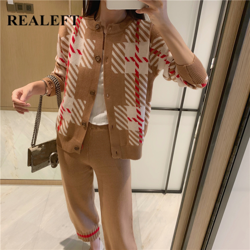 REALEFT Casual Sweater Pants Knitted 2 Pieces Set Single Breasted Cardigan & Harem Pants Women Sweater Sets 2019 Knitted Set