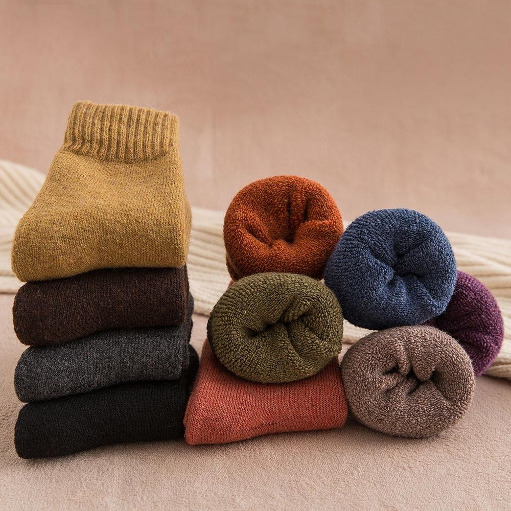 Hiver femmes épais chaud couleur unie laine Harajuku rétro résistant au froid mode décontracté cachemire chaussettes 5 paire