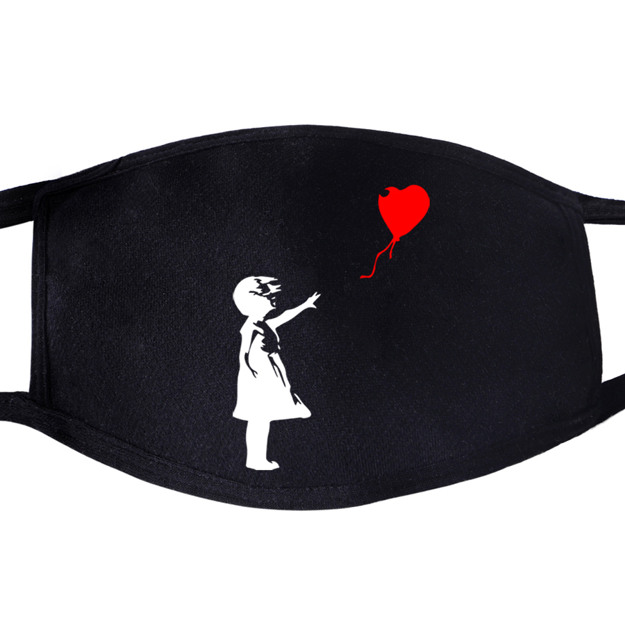 World Peace Face Mask Mouth Kcco Balloon Girl Banksy Love Fabric Anti Dust Unixex Black Muffle Face Funny Dustproof Cover Masks