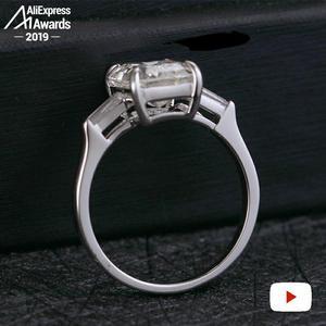 Image 4 - 11*8mm Emerald Cut   S925 Sterling Silver Ring SONA Diamond Halo Fine citrine sapphire amethyst ruby coloured diamond