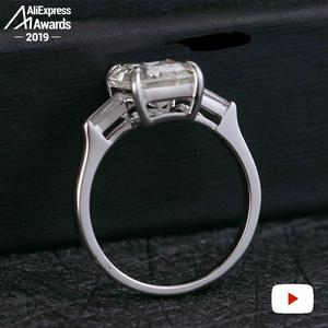 Image 4 - 11*8mm Smaragd Cut S925 Sterling Silber Ring SONA Diamant Halo Feine citrin sapphire amethyst rubin farbigen diamanten