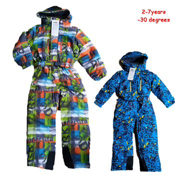-30 Children Outdoor Snow Overalls Baby Boy Girl Ski Suits Waterproof Windproof Thicken Warmly one-piece Kids Outfit 2 3 4 5 6T