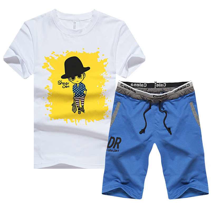 New Style Summer Sports Suit MEN'S Short Sleeve Set Men'S Wear-Style Teenager Crooked Neck Set-