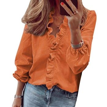 Ruffle Top Women Spring Summer Fashion Ruffle V Neck Long Sleeve Shirts Casual Daily Soild Color Blouse Top D30