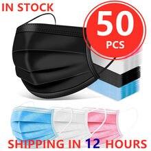 50 pçs máscara descartável máscara facial preto nonwove 3 camada máscara boca filtro anti poeira respirável protetora adulto máscaras navio rápido