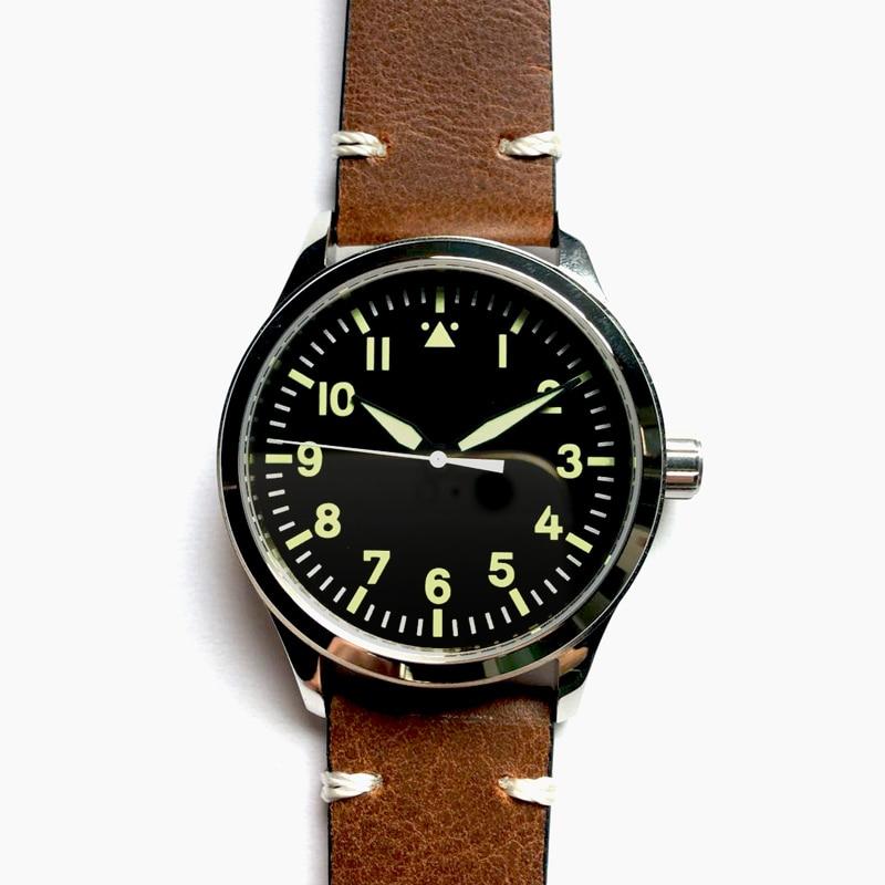 남성 자동 시계 corgeut 42mm 사파이어 갈매기 1612 블랙 다이얼 화이트 마크 빛나는 남성 손목 시계 기계식 녹색-에서기계식 시계부터 시계 의  그룹 1