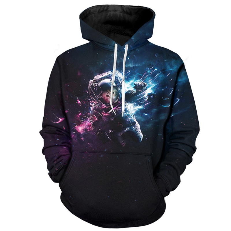 Cloudstyle New Arrival Mens Hoodies Funny Sweatshirts Astronaut Cat Hooded Pullovers Streetwear 5XL