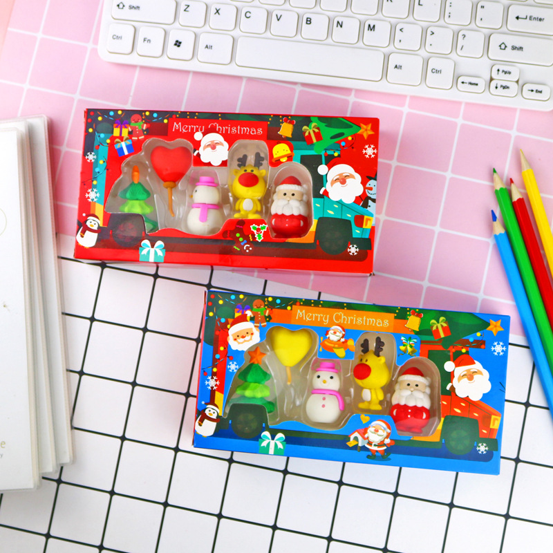 5Pcs/Lot Christmas Pencil Erasers For Office School Creative Stationery Supplies Kawaii Kids Writing Drawing Student Gift Set