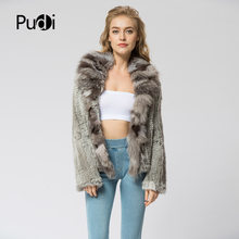 CR072 Knitted real rabbit fur coat overcoat jacket with fox fur collar Russian women's winter thick warm genuine fur coat(China)