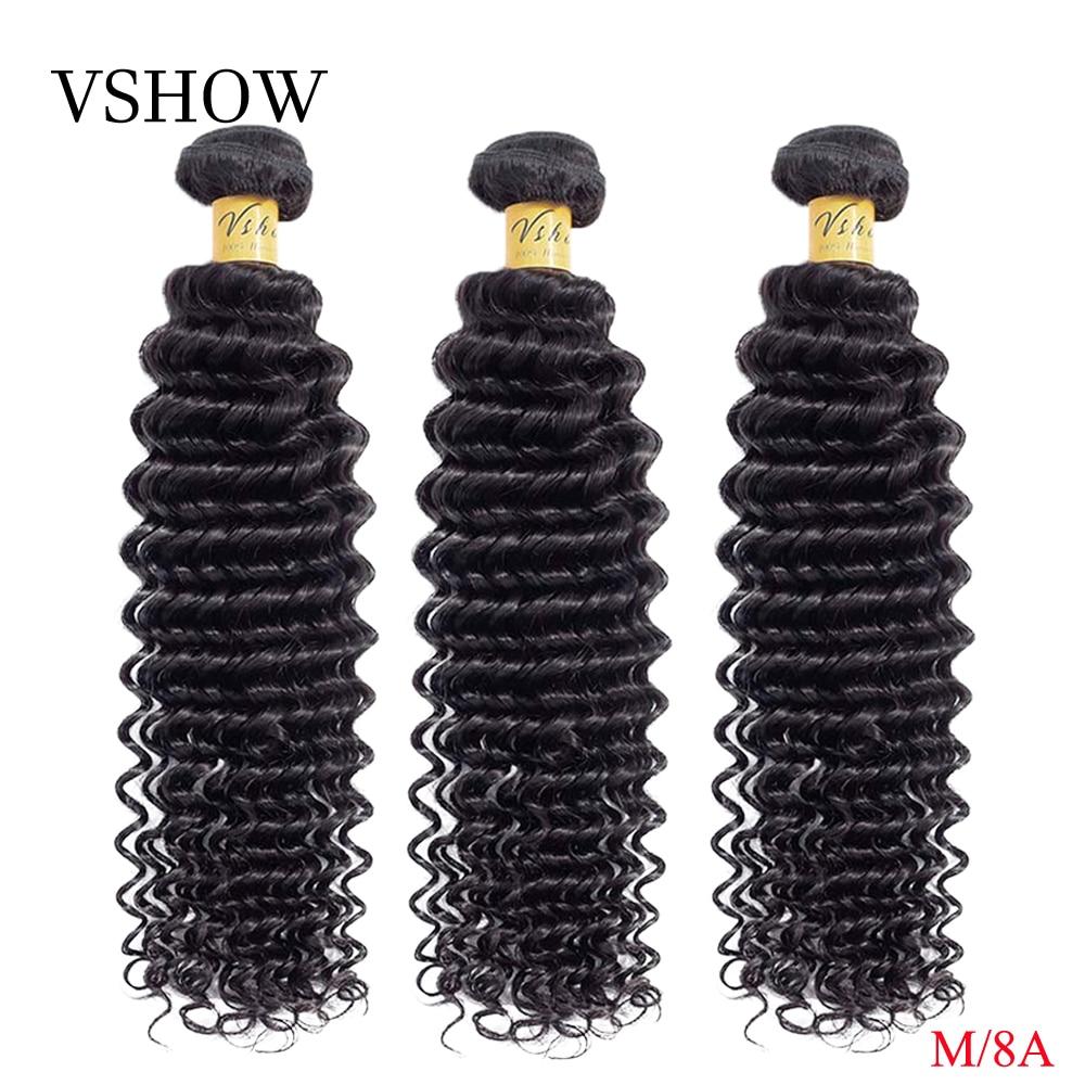 VSHOW Hair Bundles Brazilian Deep Wave Bundles 10 26 Inch Natural Color Hair Weave 100% M Remy Human Hair Extension-in Hair Weaves from Hair Extensions & Wigs