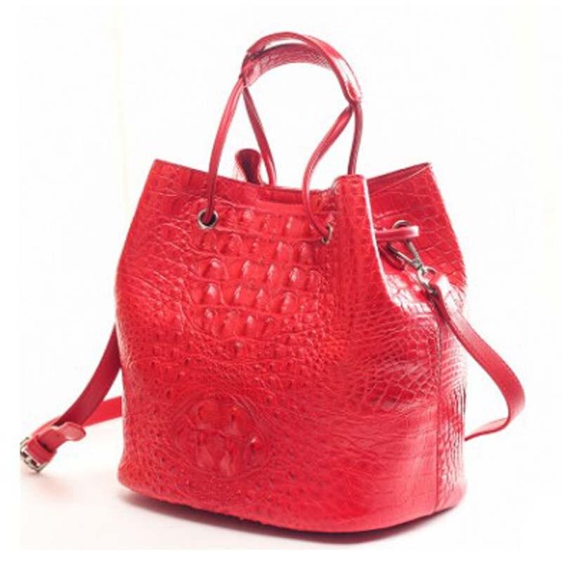ourui true  crocodile  female  Bucket bag  Genuine leather  handbag  package  female   big red women handbag