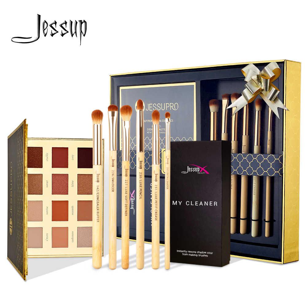 Jessup bambou fard à paupières pinceaux ensemble 6 pièces pour maquillage brosse nettoyant éponge 1pc & Palette ombre à paupières cadeau boîte d'emballage
