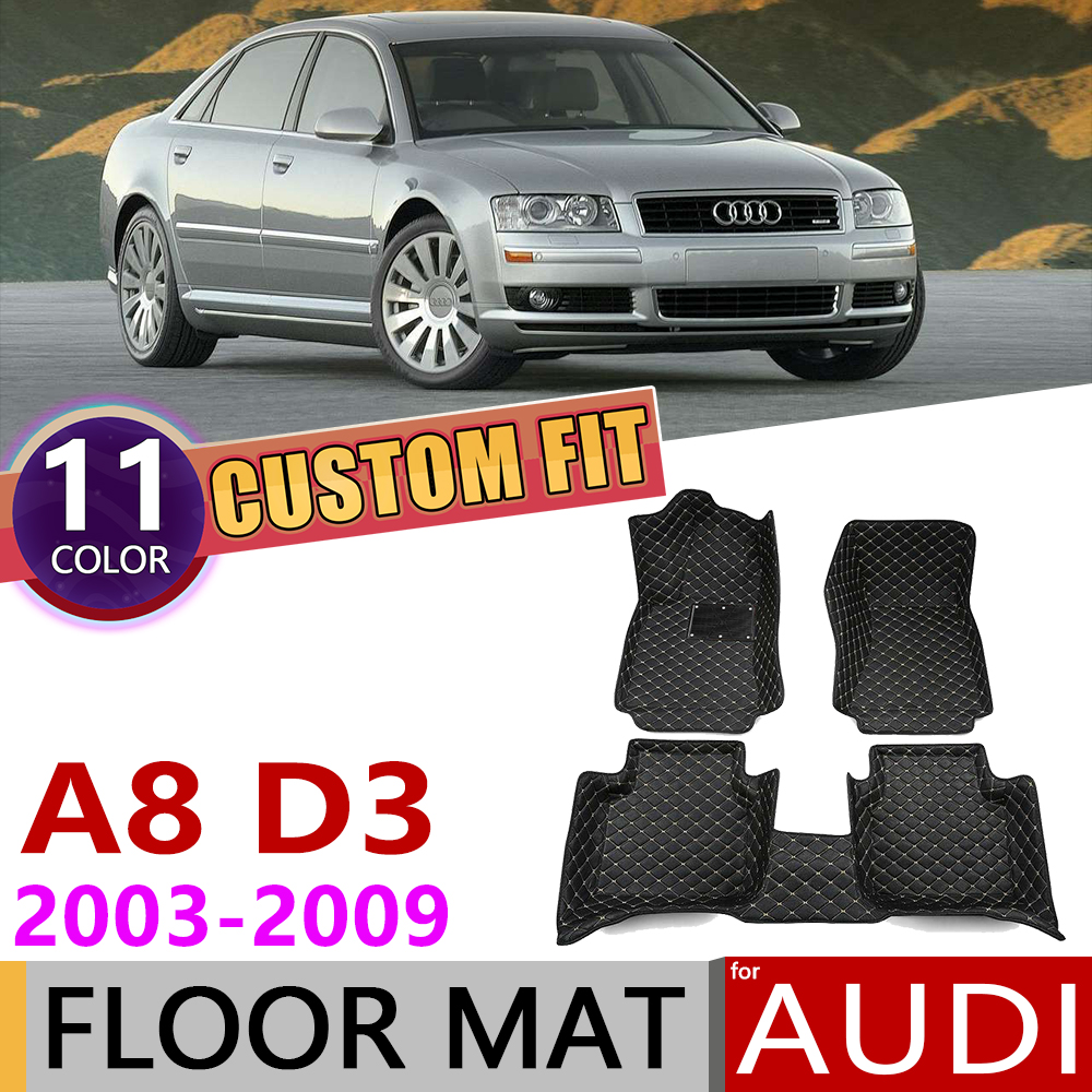 Custom Car Leather Floor Mats For Audi A8 4E D3 2003~2009 5 Seats Auto Foot Pad Carpet Accessories 2004 2005 2006 2007 2008