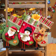Home Decorations Christmas Stocking Kids Gift Candy Holder Bags Xmas Tree Decor Hanging Socks Pendant Ornament