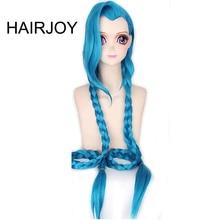 HAIRJOY Cosplay Lol Jinx 100cm de Long bleu avec Double tresses Halloween Anime déguisement perruque résistant à la chaleur cheveux synthétiques