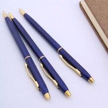 Stylo à bille de bureau en métal, design classique, bleu marine, pointe 0.7, stylo à encre pour Signature