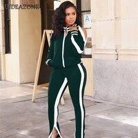 UIDEAZONE Women Sports Two Piece Set Turtleneck Zipper Jackets Elastic Waist Pants Striped Casual Ladies 2 Pieces Suits 2Pcs Set