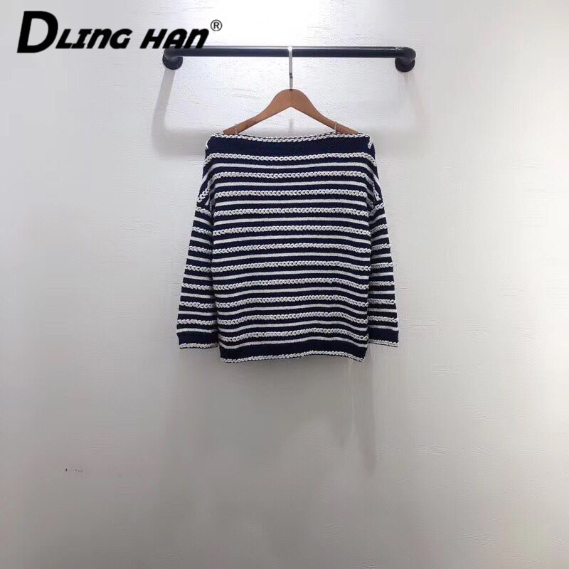 LINGHAN  Fashion Blue White Striped Knitting Pullovers Top Wild Slash Neck Loose Sweater Designer Early Spring New