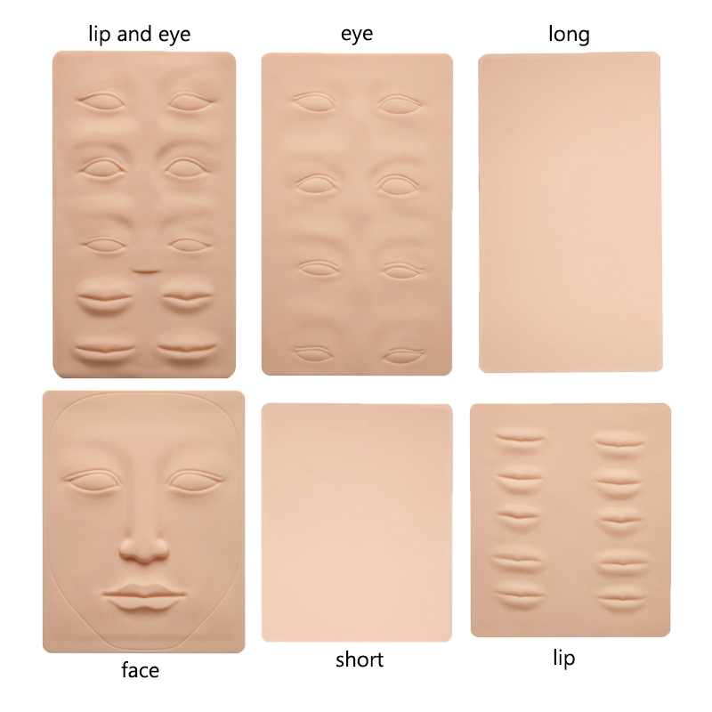 3D Silicone Permanent Makeup Tattoo Training Practice Fake Skin Blank Eye Lips Face For Microblading Tattoo Machine Beginner 1p