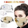 Хлопковая маска для лица с принтом пчелы унисекс Ветрозащитная маска для рта быстросохнущая моющаяся многоразовая маска + фильтр