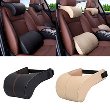 1PCS PU Leather Auto Car Neck Pillow Memory Foam Pillows Neck RestFor Chairs in the Car Seat Pillows Home Office Relieve Pain