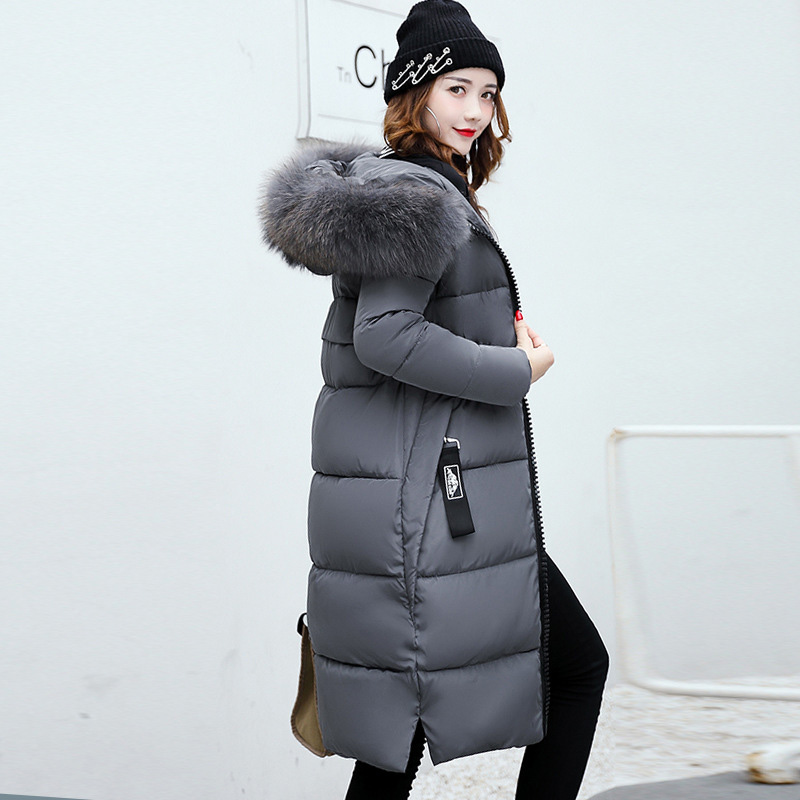 QIHUANG New Winter Women's Down Coat Long Jacket Soft Fur Collar High Quality Down Cotton Padded Coat Thick Slim Parkas