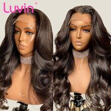 Luvin Remy волнистые волосы 4x4, фронтальные парики 26, 28, 30 дюймов, фронтальный парик с кружевом, предварительно выщипанные волосы, бразильские чел...