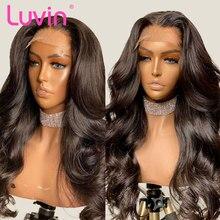 Luvin remy onda do corpo 4x4 fechamento frontal perucas 26 28 30 Polegada peruca dianteira do laço pré arrancado com o cabelo do bebê brasileiro cabelo humano