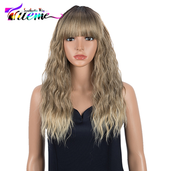 Trueme Synthetic Wig With Bangs Long Body Wave Wig Pink Ombre Blonde Wigs For Women Cosplay Wig Heat Resistant For Women elegant blonde side bang capless long big wave heat resistant synthetic wig for women