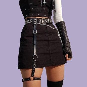 Garters Stocking Belt Womens Punk Sexy Body Bondage Adjustable Female Faux Leather Harness Leg Cage Goth Garter