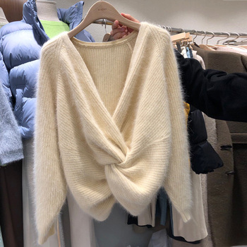 JSXDHK Korean Fashion Cross Sexy Deep V Neck Knitted Sweater Tops Autumn Women Mik Cashmere Girls Reversible Soft Warm Pullovers 1