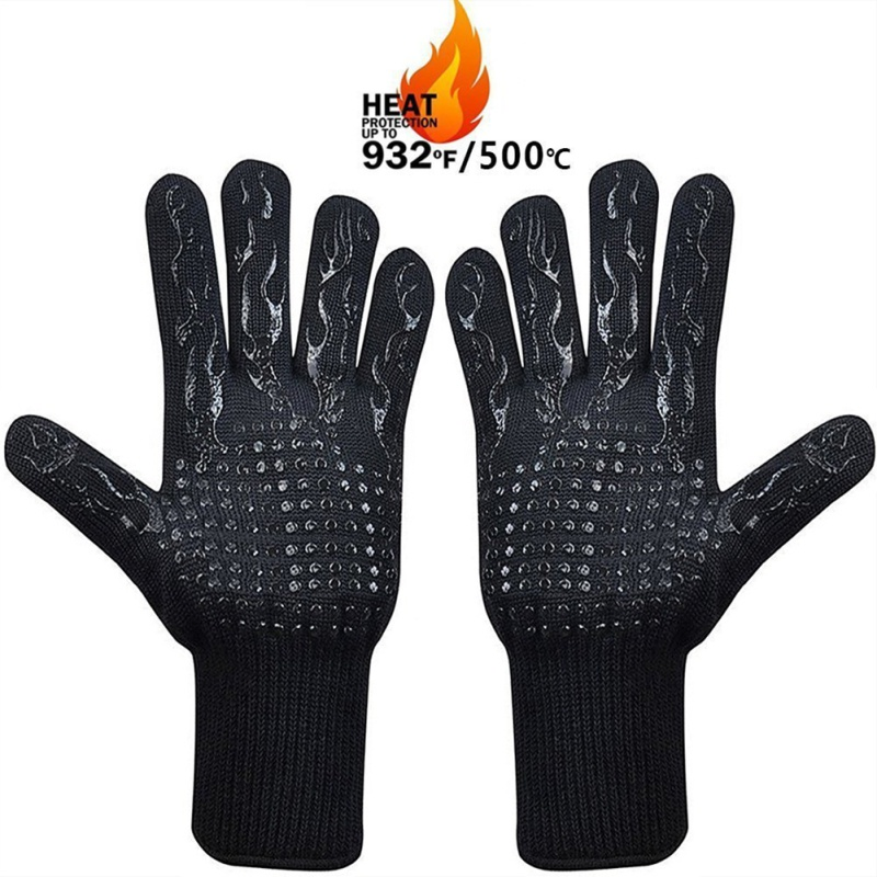 BBQ High Temperature Resistance Anti-scalding And Anti-cutting 500/800 Degree Insulated Gloves For Barbecue