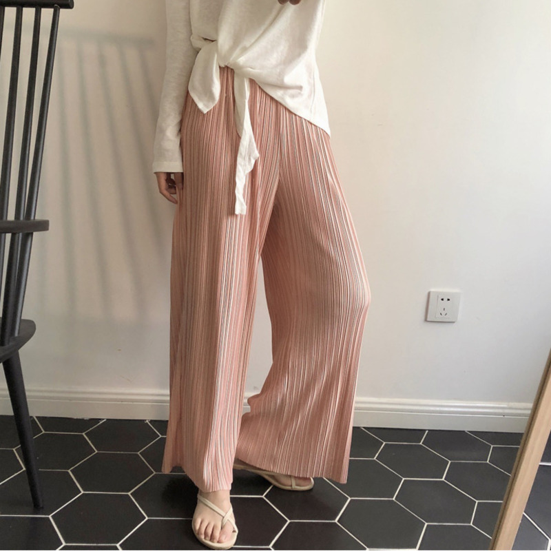 LANMREM Nude Pink Elastic High Waist Pleated Wide Leg Trousers Loose Woman Casual Wild Simple Fashion 2020 Spring New TV753