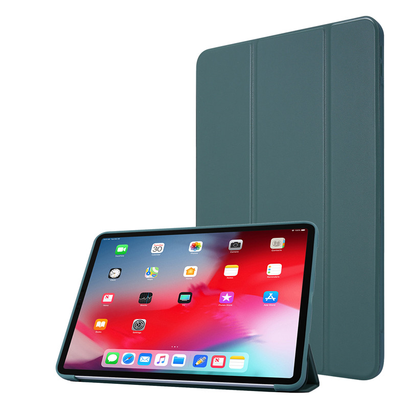 Green Black Cover Case For iPad 11Pro Case 2020 Tri fold PU Leather Smart Soft Silicone Case For