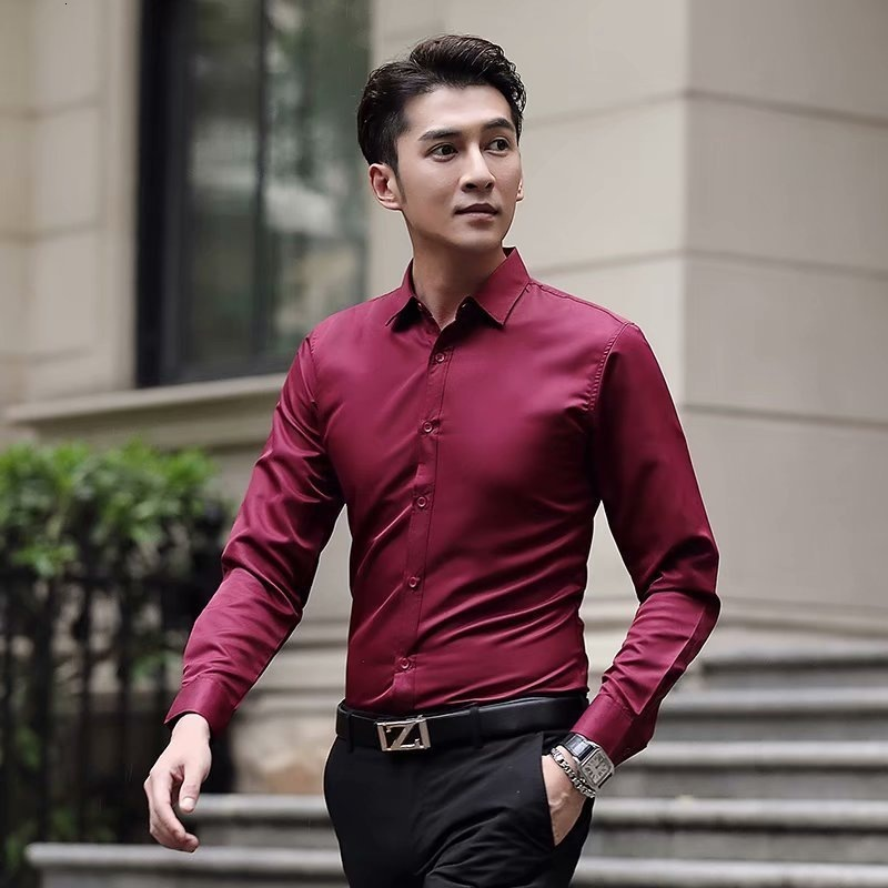 Men's Long Sleeve Shirt Solid Color Avoid Burn Inch Unlined Upper Slim Fit Shirts Comfortable Business Brand Formal Dress Shirt