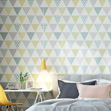 Nordic Style Modern Geometric Wallpaper 3D Triangle Rhombus Non-Woven Wall Paper Roll Living Room Bedroom Home Decor Wall Papers