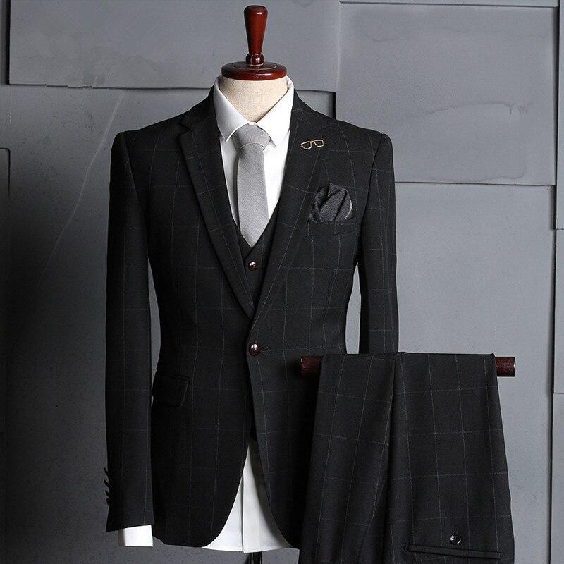 Men's Casual Suit Set 3 Piece (Jacket + Pants + Vest) Plaid Single Buckle West Slim Body Wedding Groomsmen Groomsmen Dress