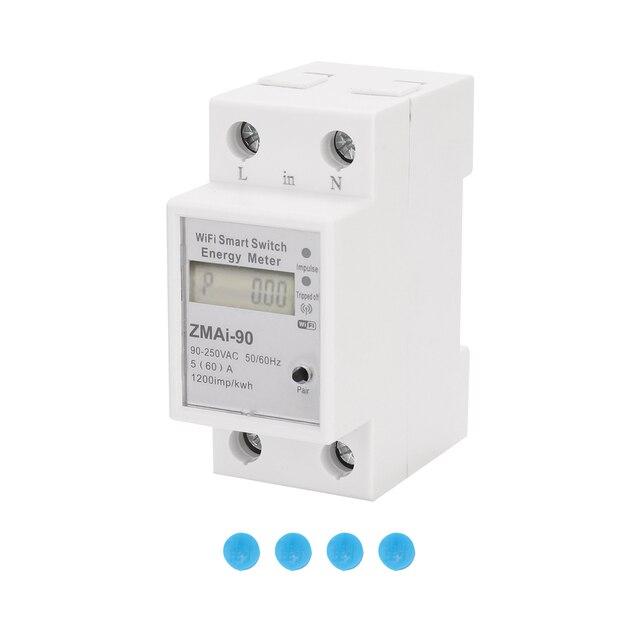 단상 딘 레일 Wifi 스마트 에너지 미터 전력 소비 Kwh 미터 전력계 지원 Tuya App 제어 Alexa Google 홈