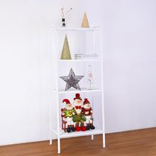 4-Tier White Bookshelf Leaning Ladder Wall Shelf Metal Bookcase Storage Furnitur
